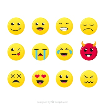 Set plana de vários emoticons expressivos