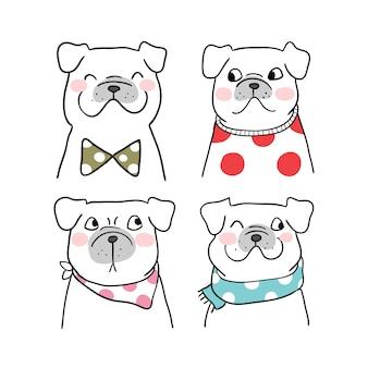Set portrait of pug dog desenhar estilo doodle