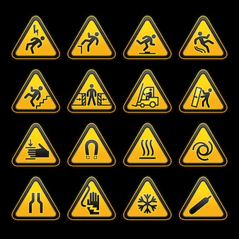 Set simple triangular warning symbols sinais de perigo