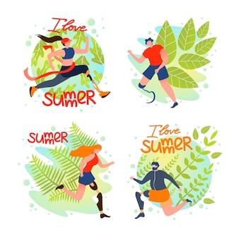 Set special social card eu amo o verão, desenhos animados