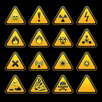 Set triangular warning signs símbolos de perigo