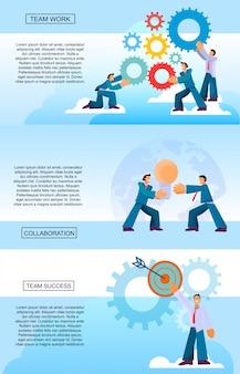 Set vertical banner team trabalho sucesso colaboração