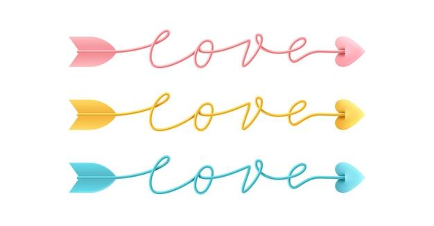Seta amor script palavra mão desenhada letras em branco.