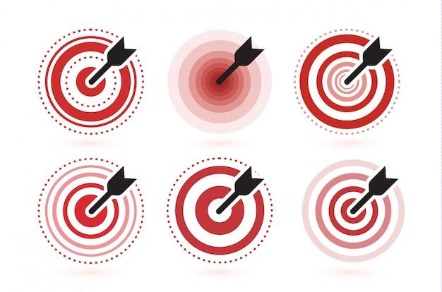 Seta atingiu o conjunto de ícones de alvo. modelo de símbolo vencedor plana. ideia do emblema moderno.