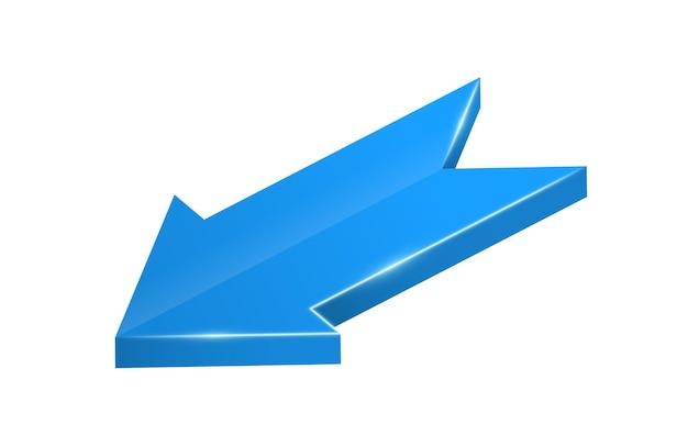 Seta azul 3d seta realista torcida objeto infográfico um sinal de ponteiro