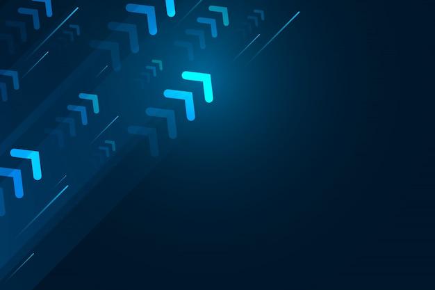 Seta clara acima com linha de velocidade sobre fundo azul, composição de espaço de cópia, conceito digital de tecnologia de velocidade.
