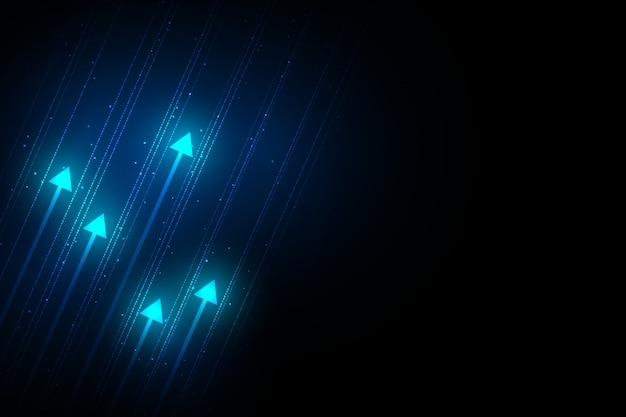 Seta clara acima do circuito na obscuridade - fundo azul com ilustração da cópia do espaço da cópia, conceito do crescimento do negócio.