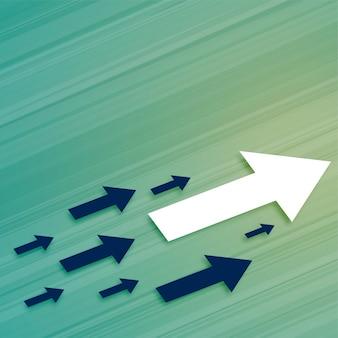 Seta de crescimento de negócios de liderança se movendo em direção a frente