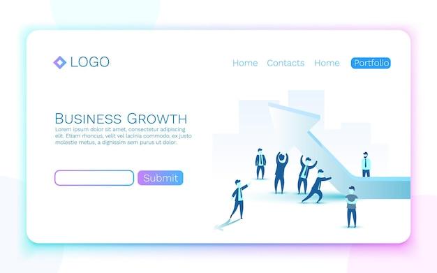 Seta de crescimento de negócios de pessoas na parte superior. ilustração vetorial