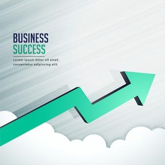 Seta de crescimento de sucesso nos negócios avançando rapidamente