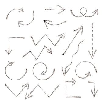 Seta de esboço do grunge. conjunto de setas de tinta desenhada de mão. elemento desenhado à mão. design de elementos gráficos de ilustração vetorial, coleção web de setas de esboço