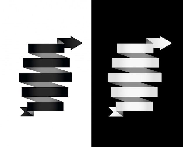 Seta de fita de banner 3d preto e branco