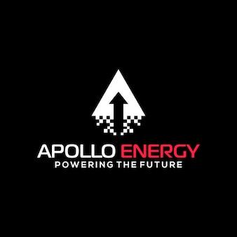 Seta de lançamento de energia apolo com design de logotipo moderno em mosaico moke para consultoria de tecnologia futura