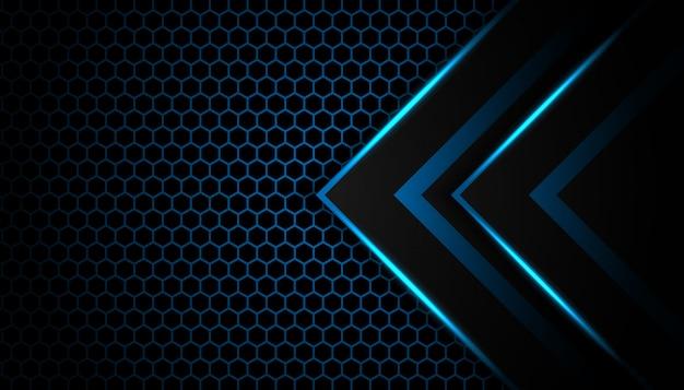 Seta de luz azul abstrata em preto com fundo de tecnologia futurista de hexágono de luxo