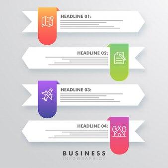 Seta de modelo infográfico colorido criativo com números para o seu negócio