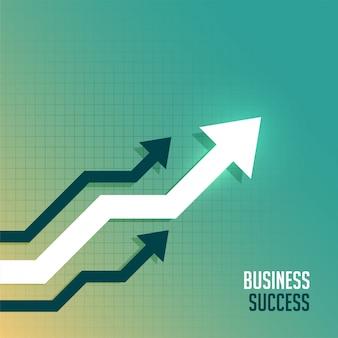 Seta de negócios líder em direção ao fundo do lado para cima