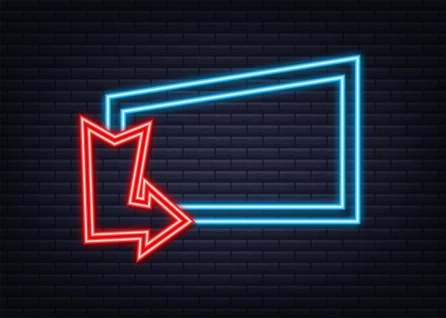 Seta de néon azul 3d em fundo escuro vector luz branca