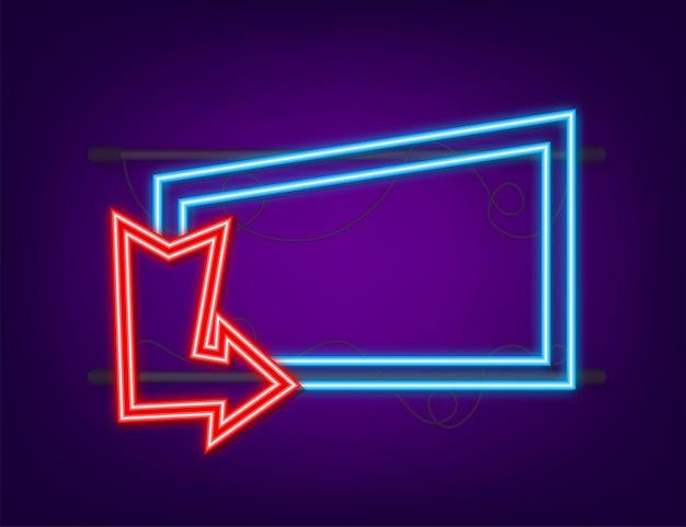 Seta de néon azul 3d em pano de fundo escuro. luz branca do vetor. fundo de cor gráfica. ilustração vetorial.