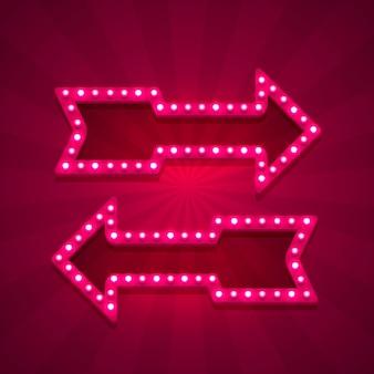 Seta de néon esquerda e direita no fundo vermelho. ilustração vetorial