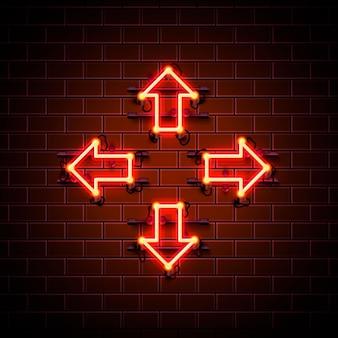 Seta de néon para cima, para baixo, para a esquerda e para a direita no fundo vermelho. ilustração vetorial