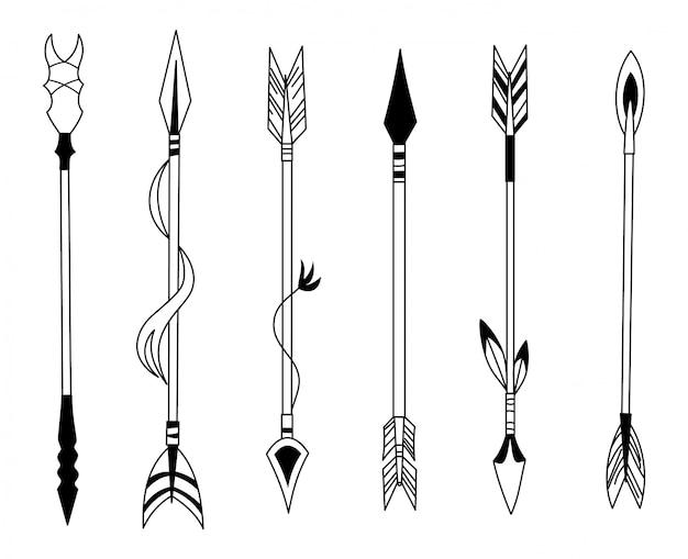 Seta de penas desenhadas à mão