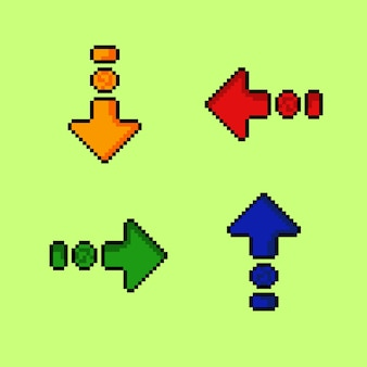 Seta de quatro cores com estilo pixel art
