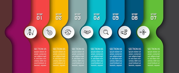 Seta de semicírculo no design de infográficos horizontais.