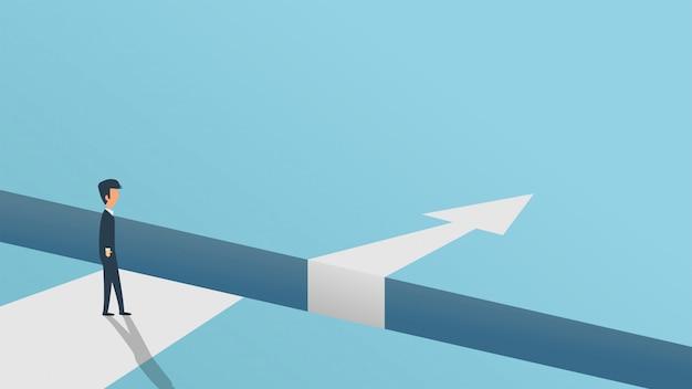 Seta de solução de problema de desafio de obstáculos de negócios