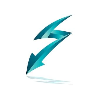 Seta de trovão com letra s logotipo