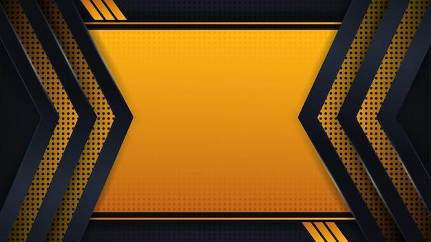 Seta de vetor de fundo moderno e pontos em amarelo escuro e preto com design de vetor de estilo abstrato