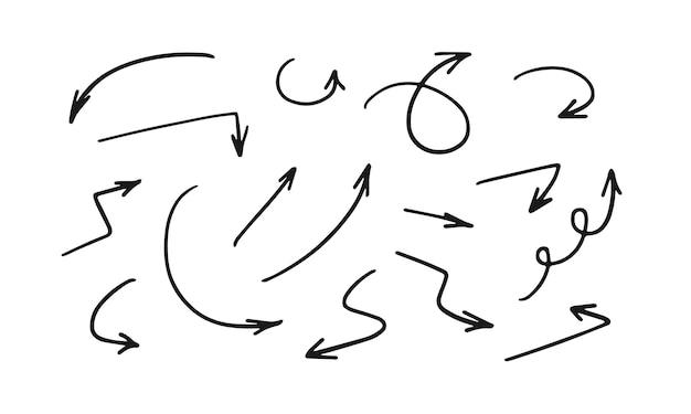 Seta definida como setas pretas de vetor desenhado à mão isoladas no fundo branco