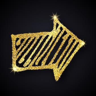 Seta desenhada de mão de glitter dourados. doodle seta com efeito de glitter dourado em fundo escuro. ilustração vetorial