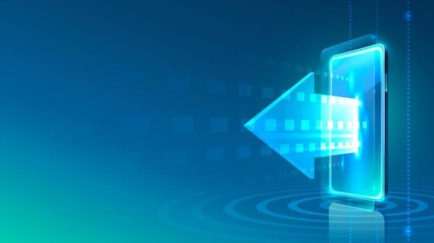 Seta do ícone do néon do telefone da tela moderna. fundo azul.