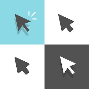 Seta do ponteiro do mouse clique em conjunto clicando em cursor branco e preto ilustração clipart imagem
