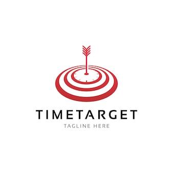 Seta do relógio e vetor de design de logotipo de destino de tempo
