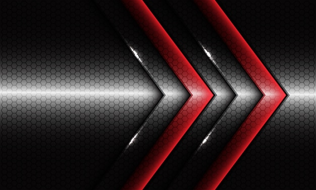 Seta dupla vermelha abstrata com design em branco