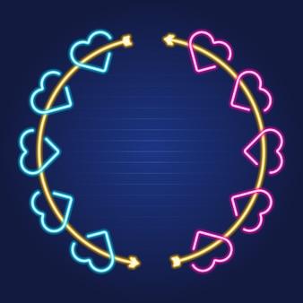 Seta e coração grinalda néon luminoso simples delinear o quadro colorido