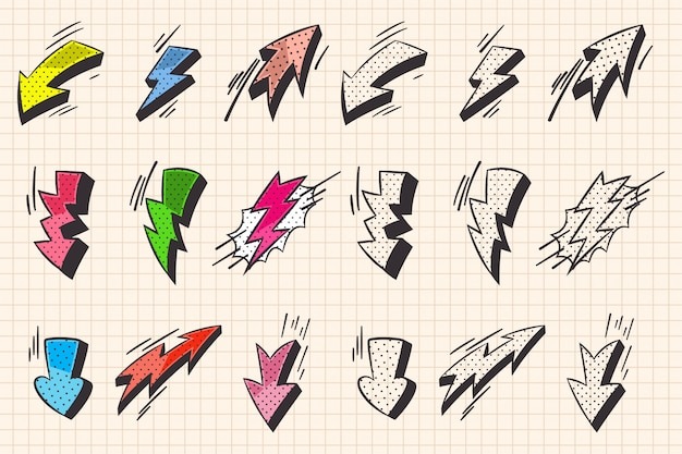 Seta, e, relampago, flash, quadrinhos, e, doodle, estilo, elementos