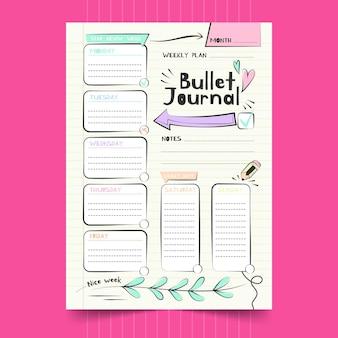 Seta grande do modelo de planejador de diário com marcadores