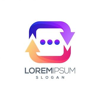 Seta ícone bate-papo colorido logotipo design