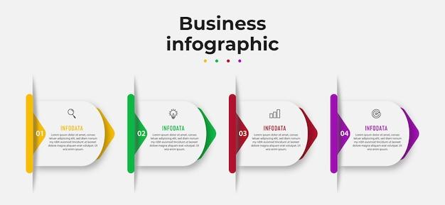 Seta infográfico design conceito de negócio com etapas