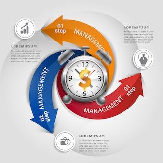 Seta moderna com infográfico do conceito do tempo do dinheiro.