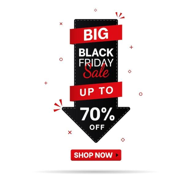 Seta para baixo com ícone de linha fina de setenta por cento de desconto conceito de sexta-feira negra