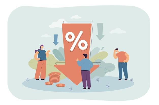 Seta para baixo com redução percentual. personagens chateados com ilustração plana de redução de lucro
