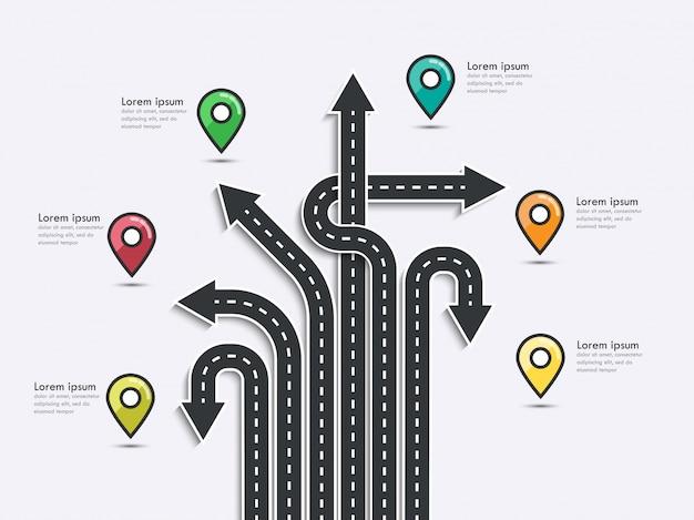 Seta roteiro de negócios e modelo de infográfico de viagem com ponteiro de pin