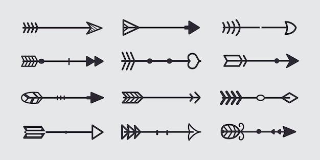 Seta tribal preta em novo estilo moderno. conjunto de ícones de mão desenhada de setas do quadro.