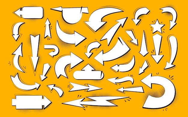 Seta várias direções em quadrinhos pop art conjunto. coleção de elementos de estilo retro dos desenhos animados