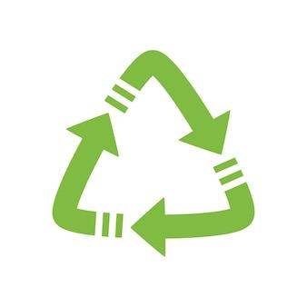 Seta verde, símbolo de reciclagem de fundos ecologicamente puros