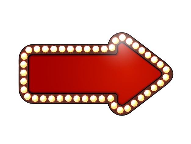 Seta vermelha com lâmpadas.