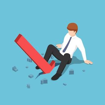 Seta vermelha isométrica 3d plana caindo entre as pernas do empresário. conceito de negócios e crise financeira.